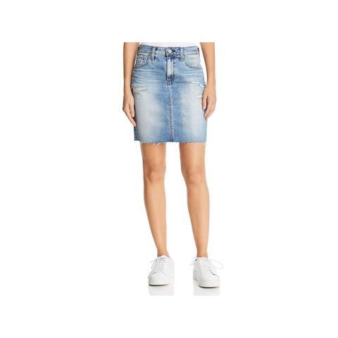 Adriano Goldschmied Womens Erin Pencil Skirt Denim Distressed