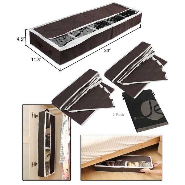 JAVOedge Brown Under the Bed Storage Box With View Windows, Removable and Adjustable Dividers