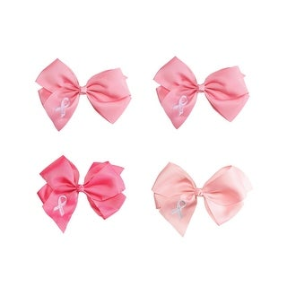 Breast Cancer Awareness Hair Bow, Set of 4