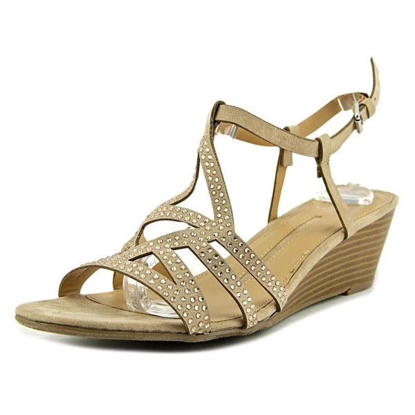 New Directions Juliet Women Open Toe Synthetic Nude Wedge Sandal