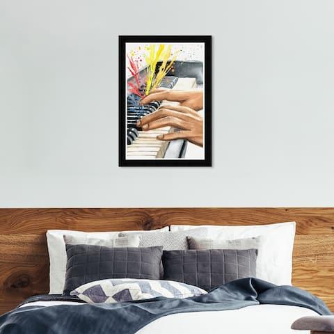 Hatcher & Ethan 'Piano Splash' Wall Art Framed - Black, Yellow