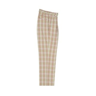 Tiglio Luxe Tan, Pink and Green Windowpane Wide Leg, Pure Wool Dress Pants 2576 RS6301/2