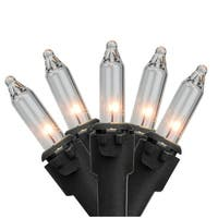 """Set of 50 Clear Mini Christmas Lights 6"""" Spacing - Black Wire"""