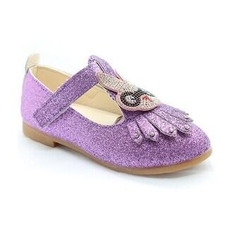 Little Girls Purple Studded Bunny Detail T-Strap Dress Shoes
