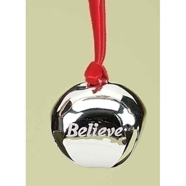 "1.5"" Christmas Traditions Believe Silver Metal Jingle Bell Christmas Ornament"