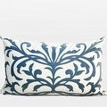 "G Home Collection Luxury Sky Blue European Pattern Embroidered Pillow 14""X22"" - Thumbnail 0"