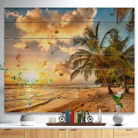 Designart 'Gorgeous Beach of Island Barbados' Seascape Print - Multi-color