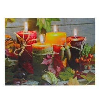 "LED Lighted Bountiful Autumn Harvest Thanksgiving Canvas Wall Art 12"" x 15.75"""