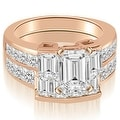 3.30 cttw. 14K Rose Gold Channel Diamond Princess and Emerald Cut Bridal Set - Thumbnail 0