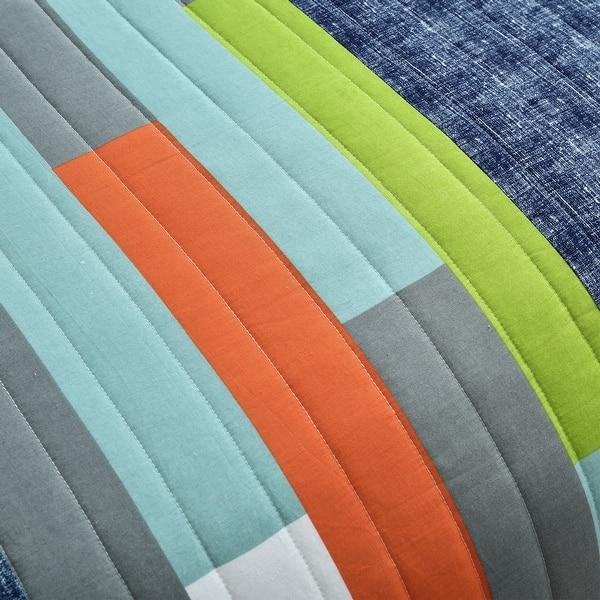 Brand New Lush Decor 3 Piece Shelly Stripe Quilt Set Full//Queen Orange