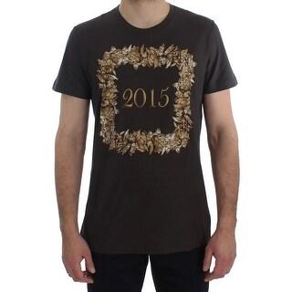 Dolce & Gabbana Dolce & Gabbana Crewneck 2015 Motive Print Dark Gray Cotton T-shirt