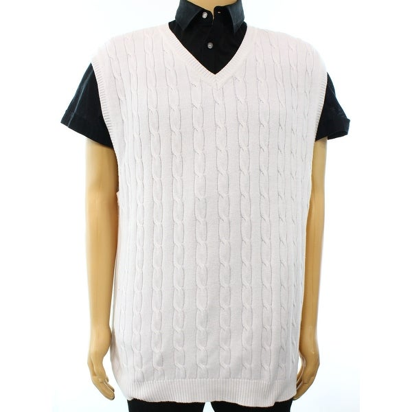Club Room New White Mens Size 3xl Cable Knit V Neck Sweater Vest