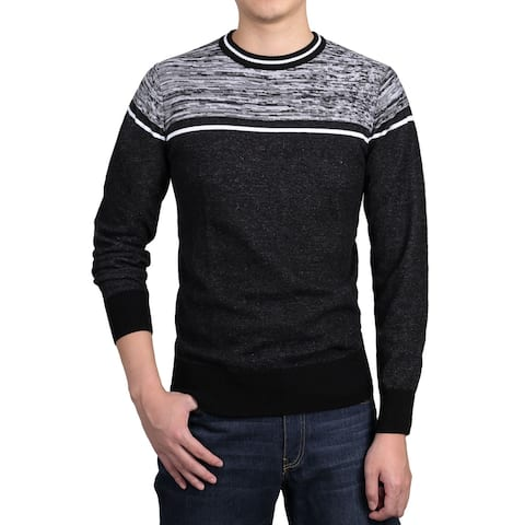 Men Crew Neck Contrast Stripes Knitted Long Sleeves Sweaters Pullover - Black White