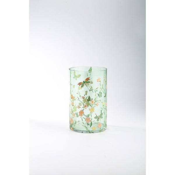 "9.5"" Green and Orange Cylindrical Hand Blown Glass Vase with Multi Colored Floral Pattern - N/A"