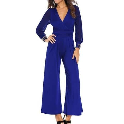 WomenS Pant Sexy Deep V Neck Long Sleeve Waist Jumpsuit Romper Pants