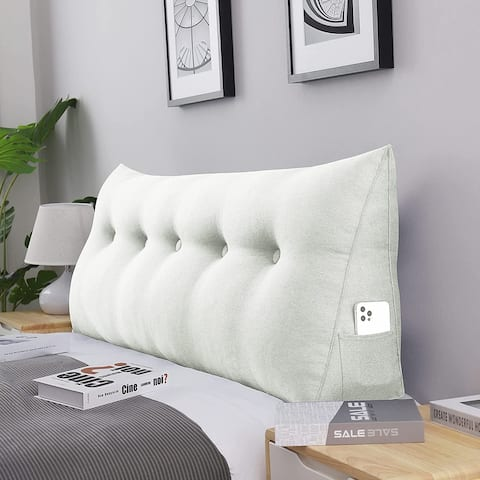 WOWMAX Queen Bed Headboard Reading Wedge Pillow Backrest Off White
