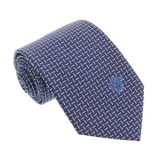 Versace Blue Woven Zigzag Contrast Tie