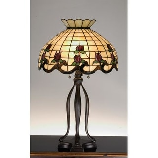 Meyda Tiffany 19138 Stained Glass / Tiffany Table Lamp from the Roseborders Collection - Gold