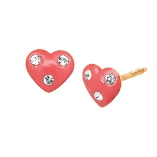 Crystaluxe Girl's Pink Heart Stud Earrings with Swarovski Elements Crystals in 14K Gold
