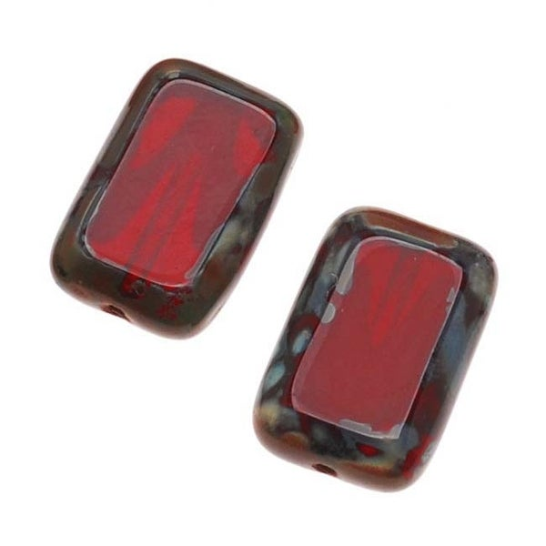 Czech Glass Table Cut Window Beads 8x12mm Rectangle Deep Red / Picasso (12)