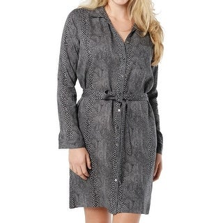Three Dots NEW Gray Black Womens Size Large L Belted Print Shirt Dress