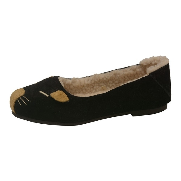 c7f897acff86e L'Amour Little Girls Black Fleece Lined Mouse Casual Flats 5-10 Toddler