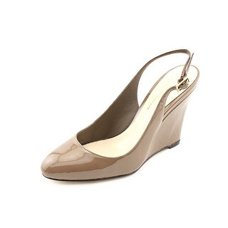 Delman Fargo Women Open Toe Patent Leather Wedge Heel