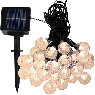 Sunnydaze 30-Count LED Solar Powered Globe String Lights - Set of 1 - Multiple Colors Available