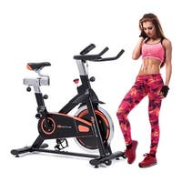 Goplus Exercise Bike Cycle Trainer Indoor Workout Cardio Fitness Bicycle Stationary - orange&black
