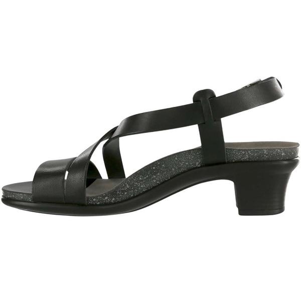 SAS Womens Nouveau Leather Open Toe Casual Slingback, Alfa Black, Size 8.0 - 8