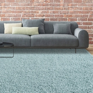 LUXURIOUS AND THICK DOUBLE TEXTURED SHAG AREA RUG IN SEAFOAM BLUE