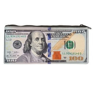 "$100 Bank Note Zipper Pouch - Hundred Dollar Bill Print - 9.25"" x 4.25"" - One size"