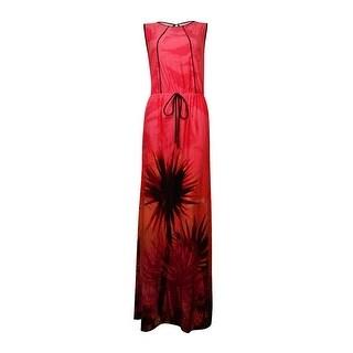 Sangria Women's Faux-Drawstring Tropical-Print Maxi Dress - 6