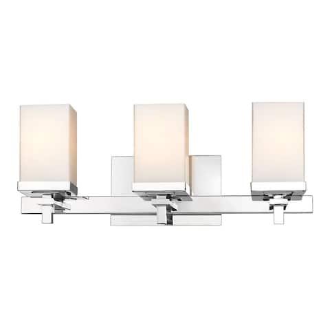 Laurel Designs Maddox Chrome-finished Steel/ Glass 3-light Bath Vanity Fixture