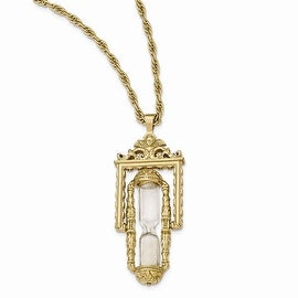 Goldtone Glass & Sand Workable Hourglass Pendant Necklace - 30in