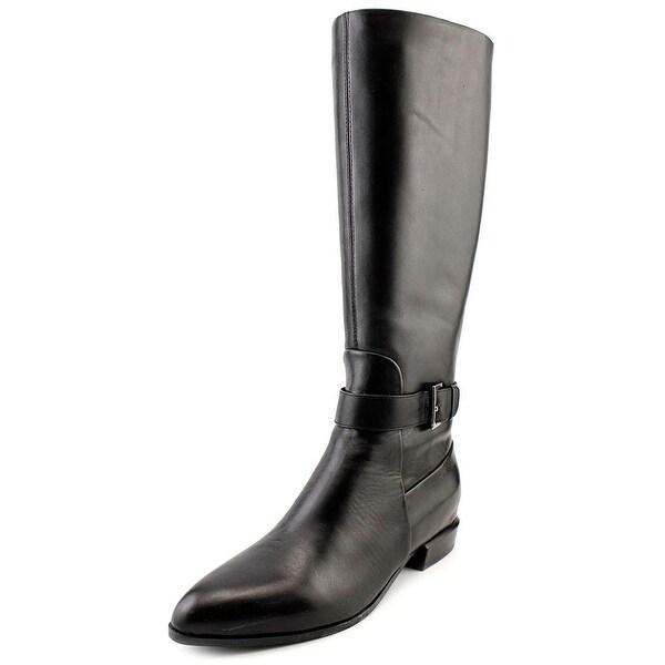 Nine West Diablo Women  Pointed Toe Leather Black Knee High Boot