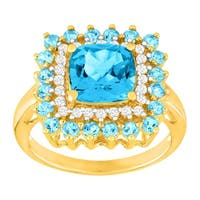 3 3/4 ct Natural Swiss Blue Topaz & 1/5 ct Diamond Cushion Ring in 14K Gold