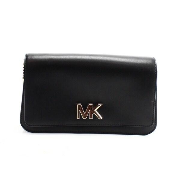 589acbc4b110 Shop Michael Kors NEW Black Leather Mott Large Clutch Crossbody Bag ...