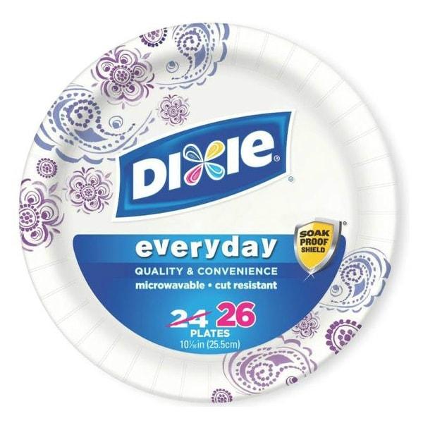 "Dixie 15255 Heavy Duty Paper Plates, 10-1/4"", 26 Plates"