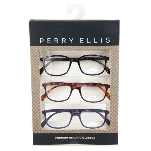 c2f8c9132c04 Perry Ellis Mens 3 Multi Pack Metal Reading Glasses +1.5 Blk Dem Blu