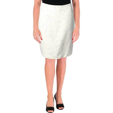 Tahari ASL Womens Petites Pencil Skirt Metallic Lined