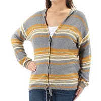 FRESHMAN FOREVER Womens Gray Hood Striped Long Sleeve Button Up Sweater Juniors  Size: XS