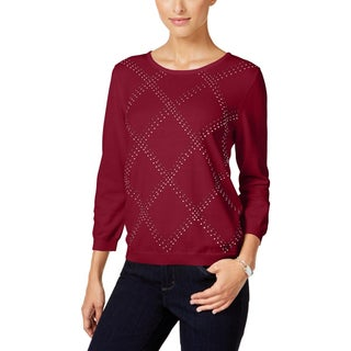 Alfred Dunner Womens Petites Sweater Embellished Long Sleeves - pl (Option: Red)