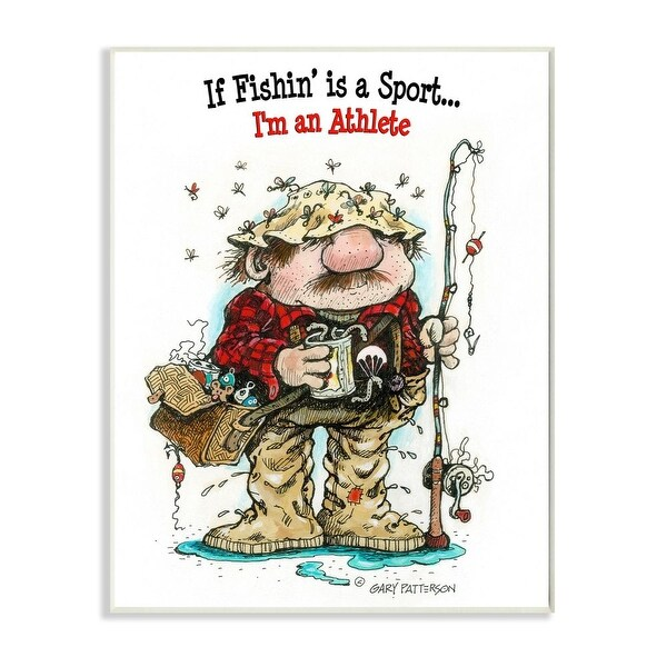 Stupell Industries Fishing I'm An Athlete Funny Sports Cartoon Design Wood Wall Art. Opens flyout.