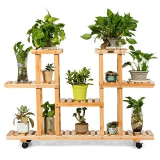 Costway 4-Tier Wooden Plant Stand W/Wheels Multipurpose Storage Rack, - 47.5''x 13''x 31.5''