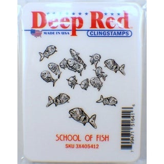 Deep Red Stamps School of Fish Rubber Cling Stamp - 2 x 2
