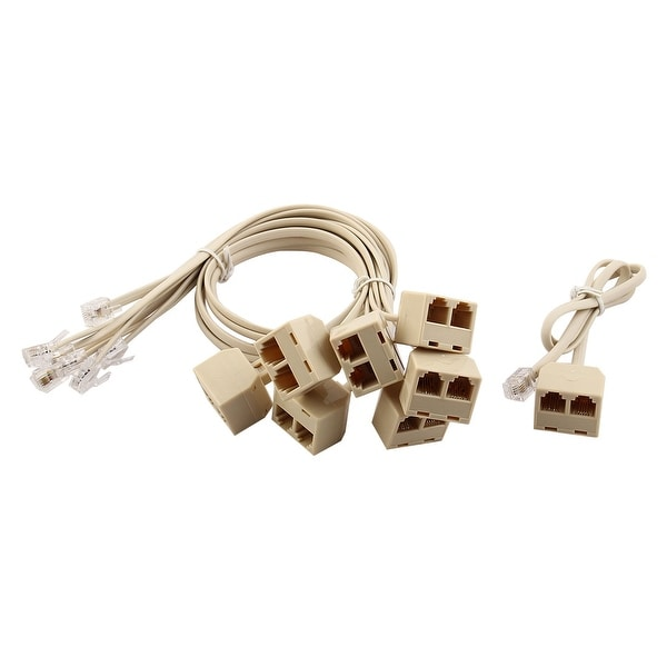 Home Telephone Plastic RJ11 1 Male to 2 Female Cable Splitter Adapter Beige 8pcs