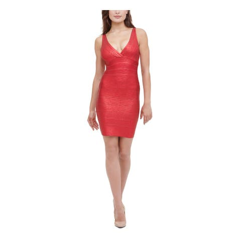 MARCIANO Red Sleeveless Above The Knee Dress L
