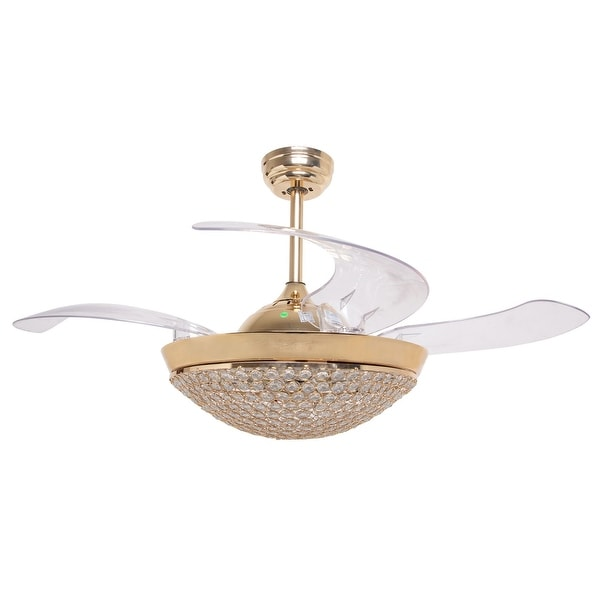 Shop modern dimmable light retractable 4 blades led - Fan with retractable blades ...