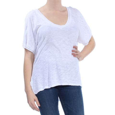FREE PEOPLE Womens White Frayed Short Sleeve Scoop Neck T-Shirt Top Size: XS